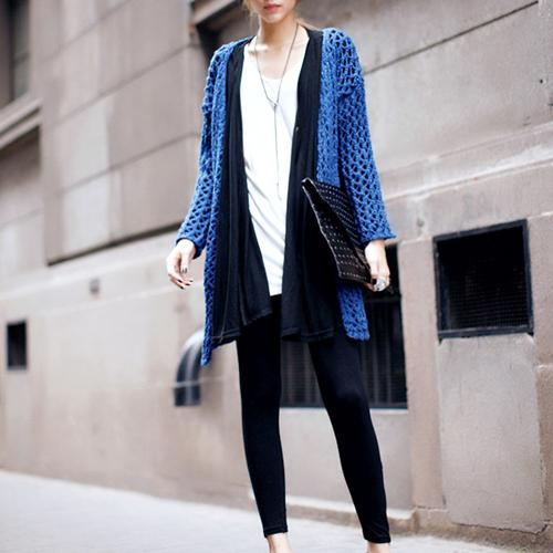 New Arrival Autumn Blue V-neck Long Sleeve Knit Cardigan Sweater