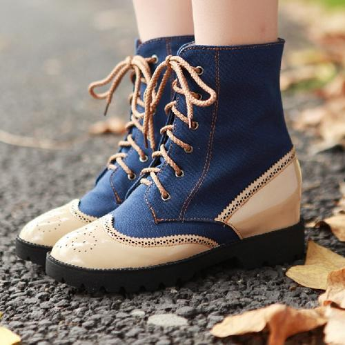 New Arrivals Flat PU Leather Matching Lace-up Martin Boots