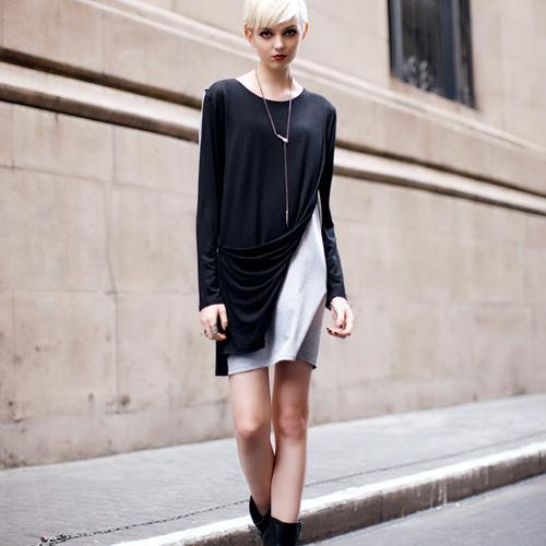 2012 Fall New Arrivals Black&Grey Match Stagger Design Sleeveless One-piece Dress