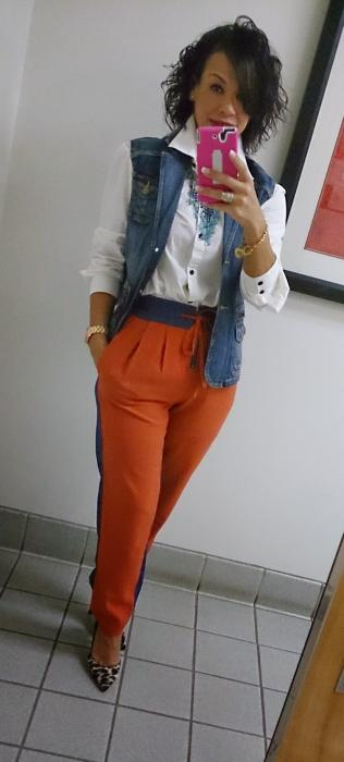 Today's Look: Color-Blocking Pants!