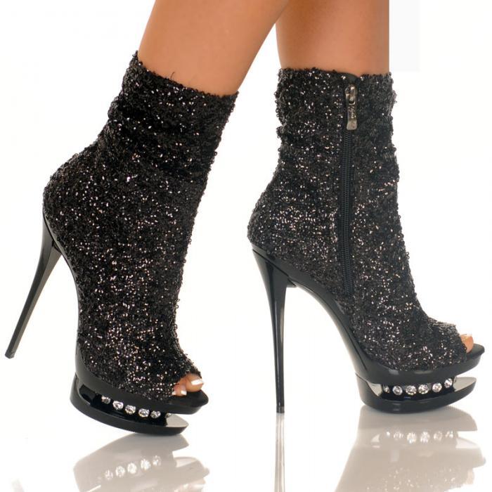 Black Sequin Ankle Bootie