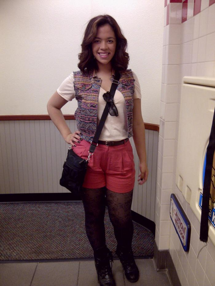 High Waist Shorts, Boho Type Vest, and my fav Military boots!
