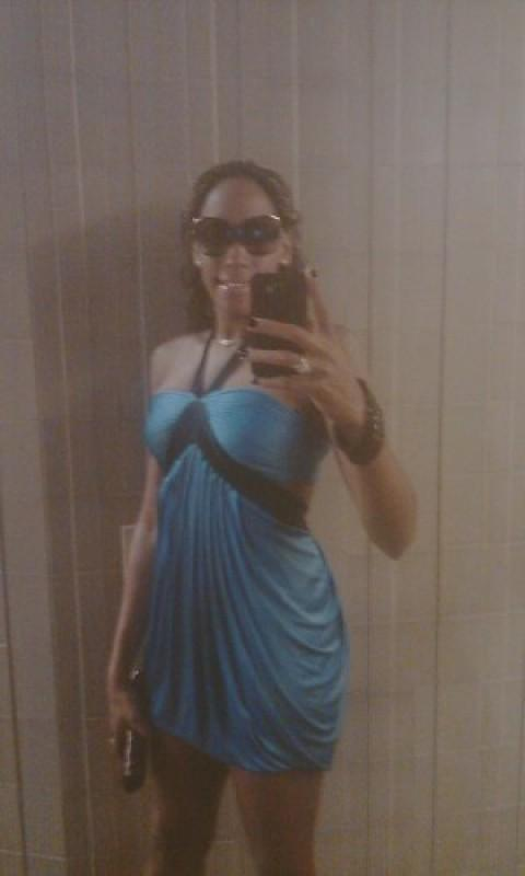 baby blue and black dress
