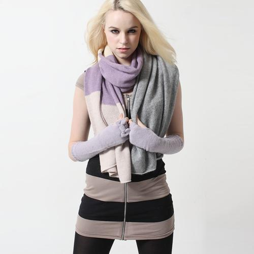 Cony Hair Color Blocking Winter Suite Scarf and Gloves