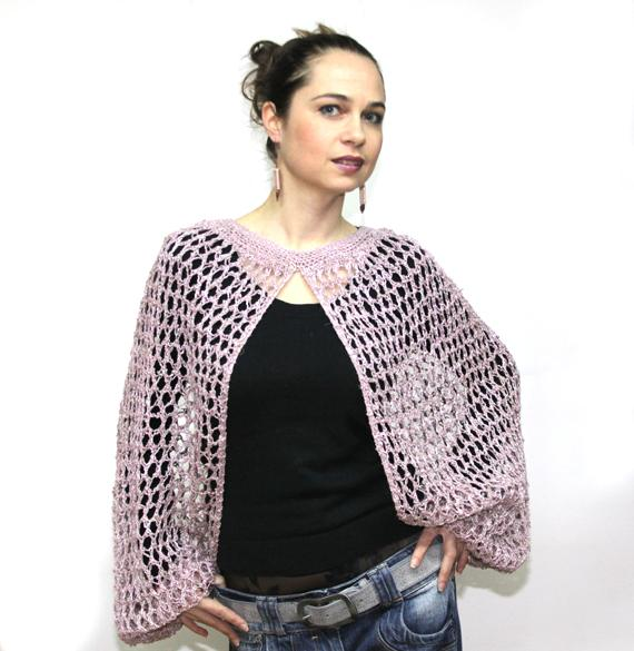 Summer Lacy Hemp and Cotton Shrug in Dusty Pink