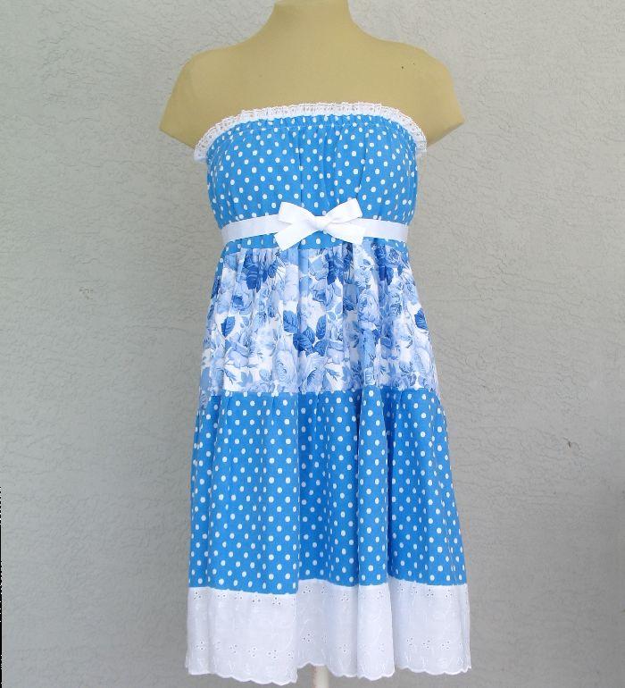 Polka Dots And Blue Roses Sundress