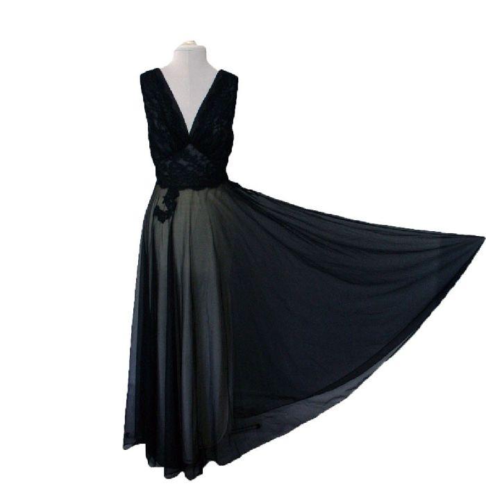 Vintage Leonora Sheer Black Chiffon Gown, Very Mad Men