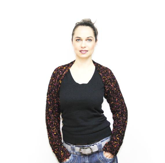 Black Wool and Mohair Hand Knit Shrug