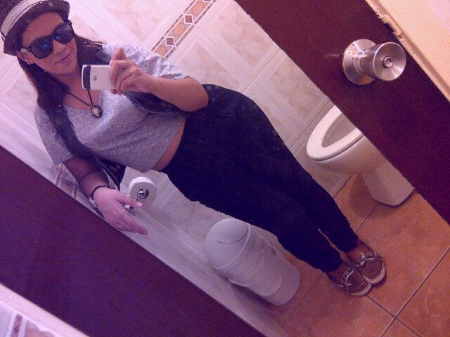 Mirror Picture, Harem Pants, Fedora and Crop tee