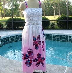 Pink And White Ombre Maxi Dress Patchwork Flowers