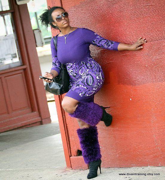 Urban Furry Leg Covers - Grape