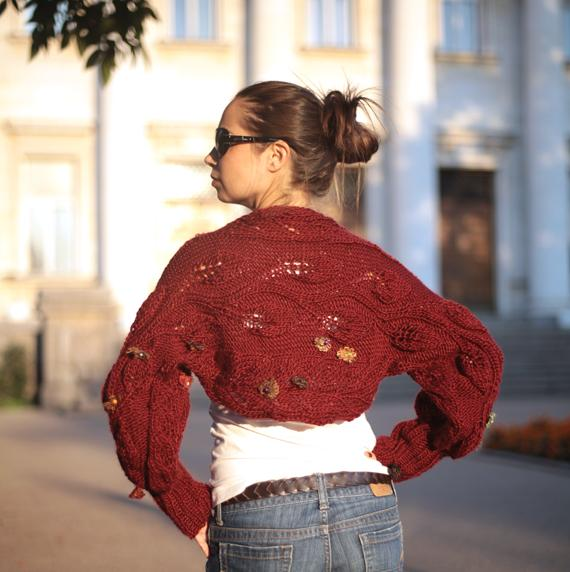 A Brick Floral Wool  Shrug