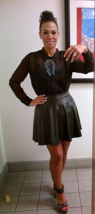 Today's Look: Polka Dot, Leather & Chains!