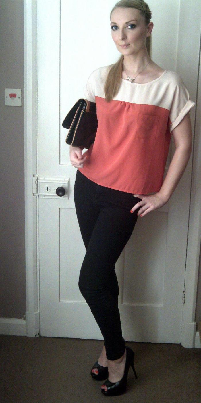 Smart Casual outfit for dinner - jeans and heels