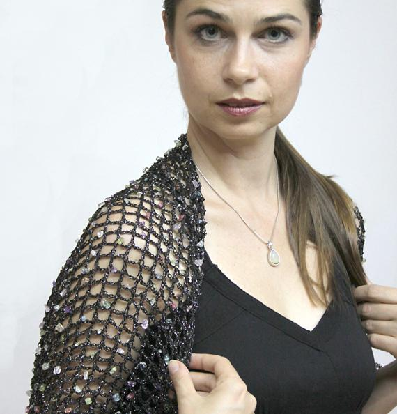 STARRY NIGHT Sleeves with Entwined Semi-precious Stones
