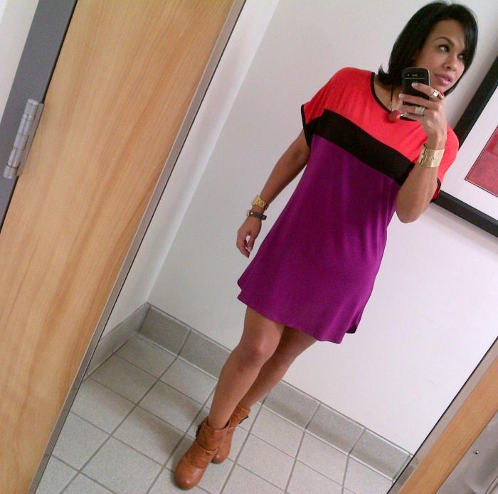 Today's Look: Casual ColorBlock ShirtDress!
